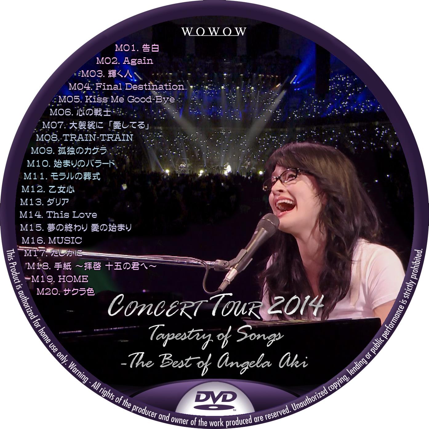 アンジェラ・アキ Concert Tour 2014 WOWOW DVDラベル