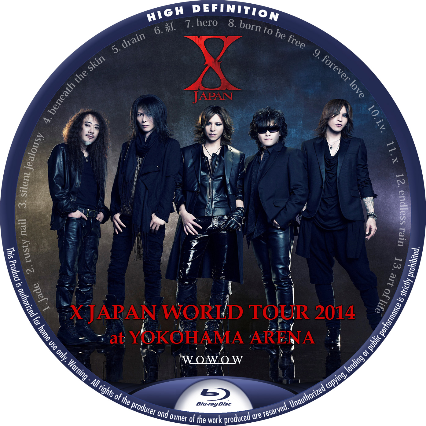 X JAPAN WORLD TOUR 2014 BDラベル WOWOW
