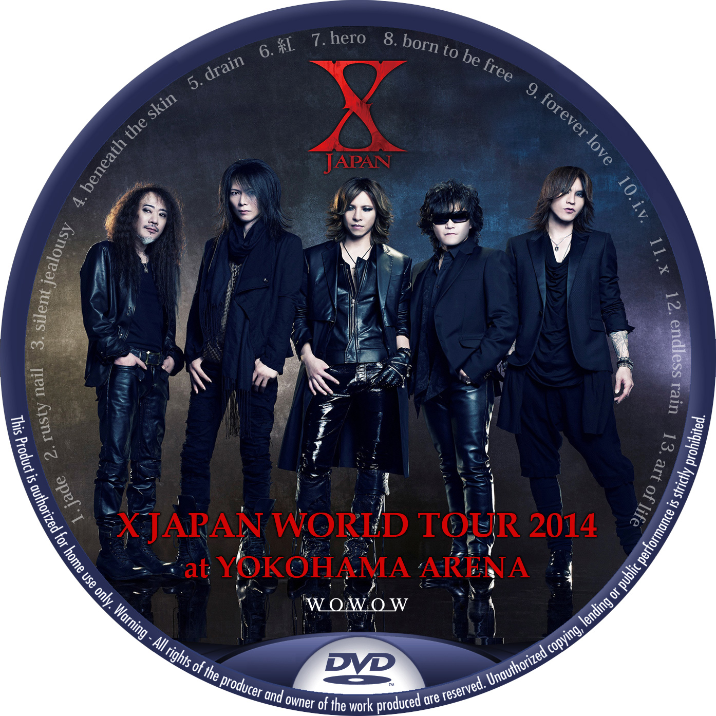 X JAPAN WORLD TOUR 2014 DVDラベル WOWOW